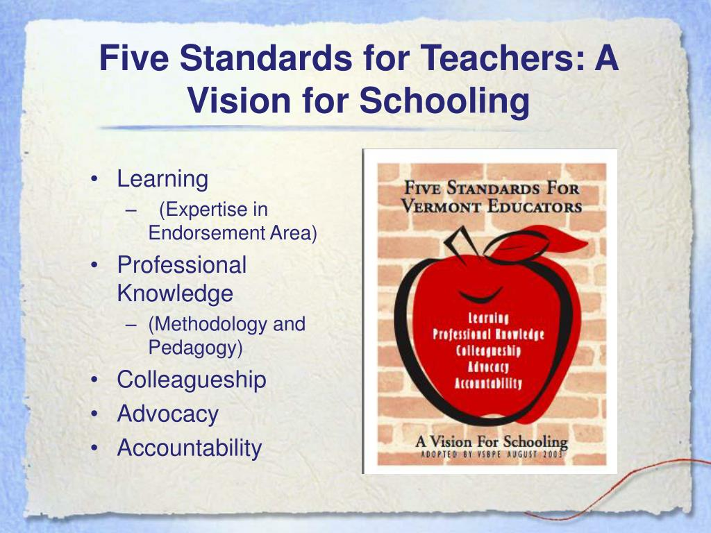 Five Standards for Teachers: A Vision for Schooling