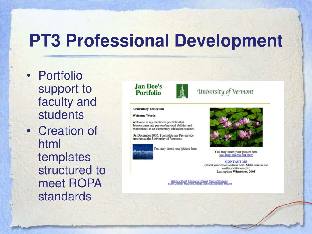 PT3 Professional Development