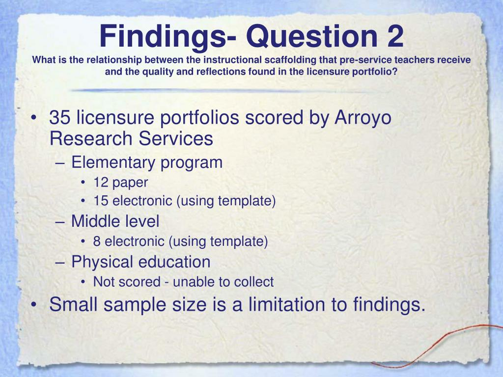 Findings- Question 2