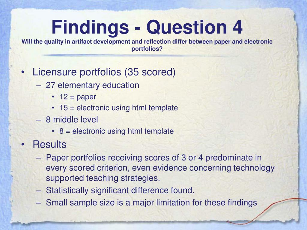 Findings - Question 4