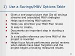 1 use a savings m v options table