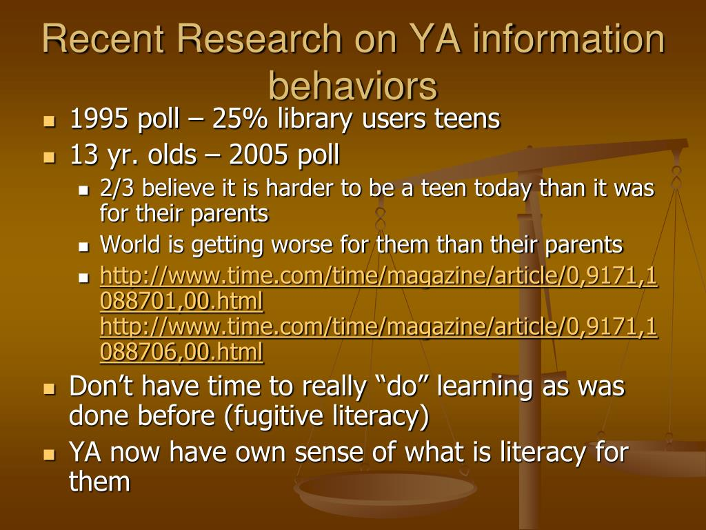 Recent Research on YA information behaviors