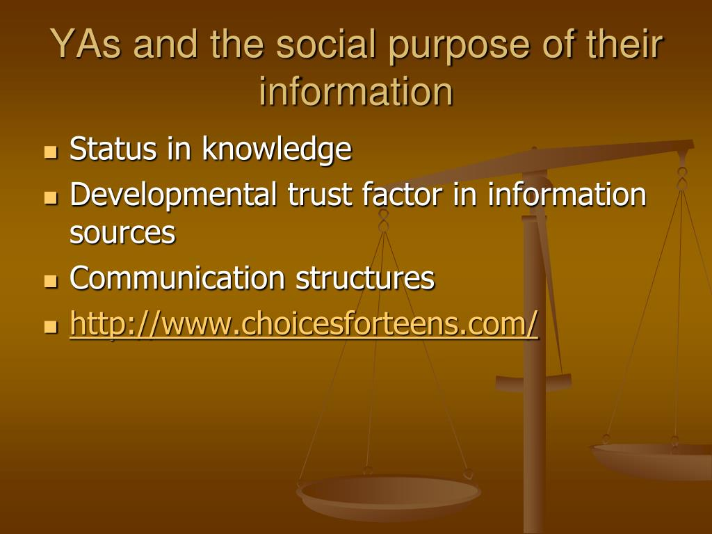 YAs and the social purpose of their information