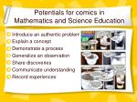 potentials for comics in mathematics and science education