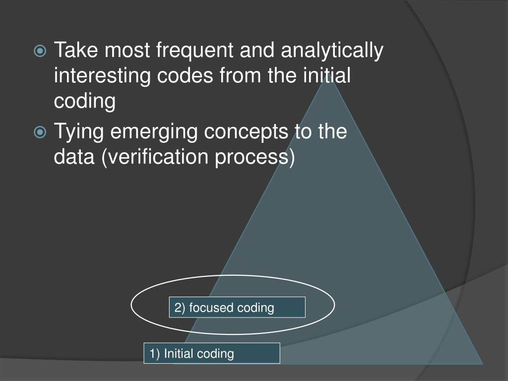 Take most frequent and analytically interesting codes from the initial coding