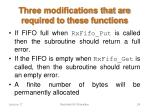 three modifications that are required to these functions