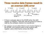 three receive data frames result in an overrun or error