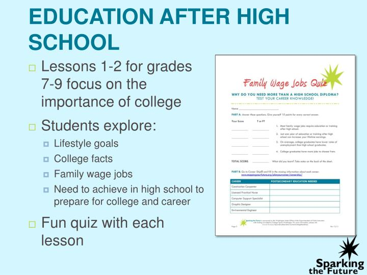 what are your educational goals after high school