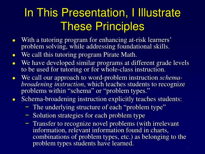 In this presentation i illustrate these principles
