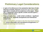 preliminary legal considerations