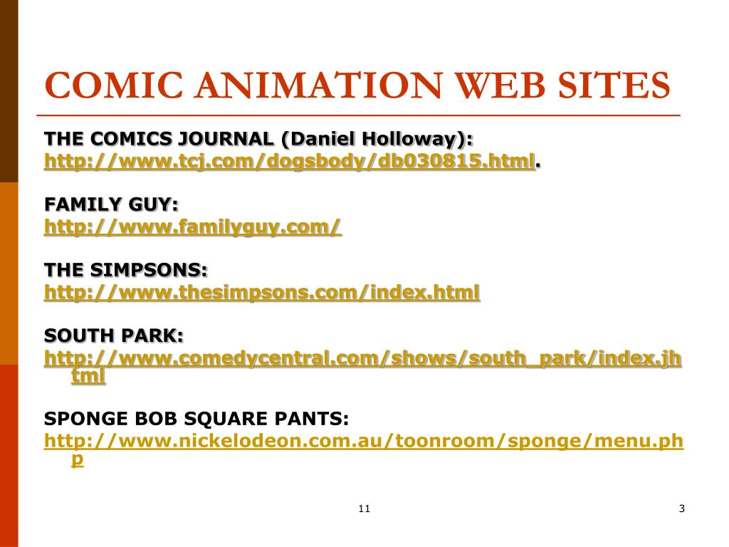 COMIC ANIMATION WEB SITES