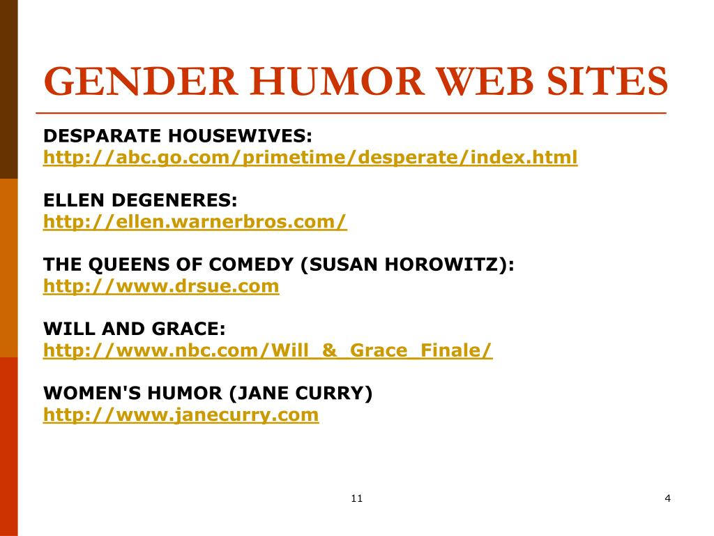 GENDER HUMOR WEB SITES