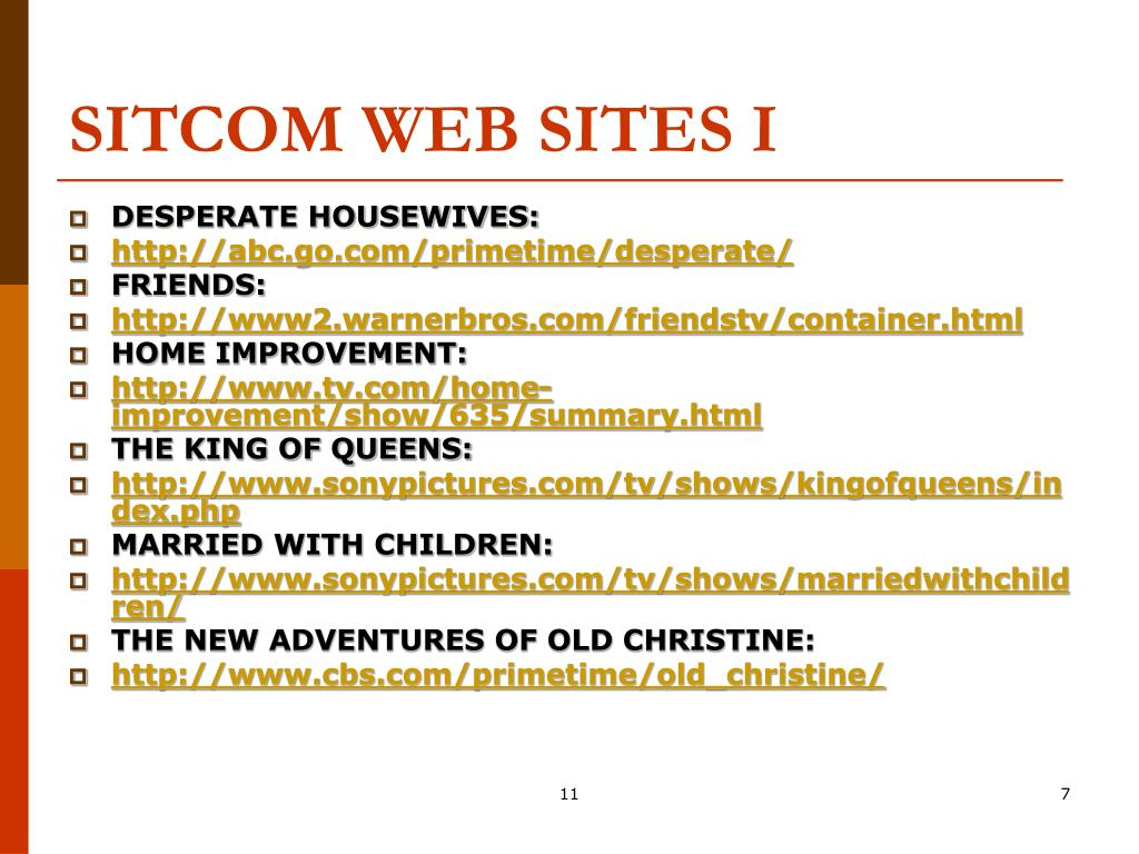 SITCOM WEB SITES I