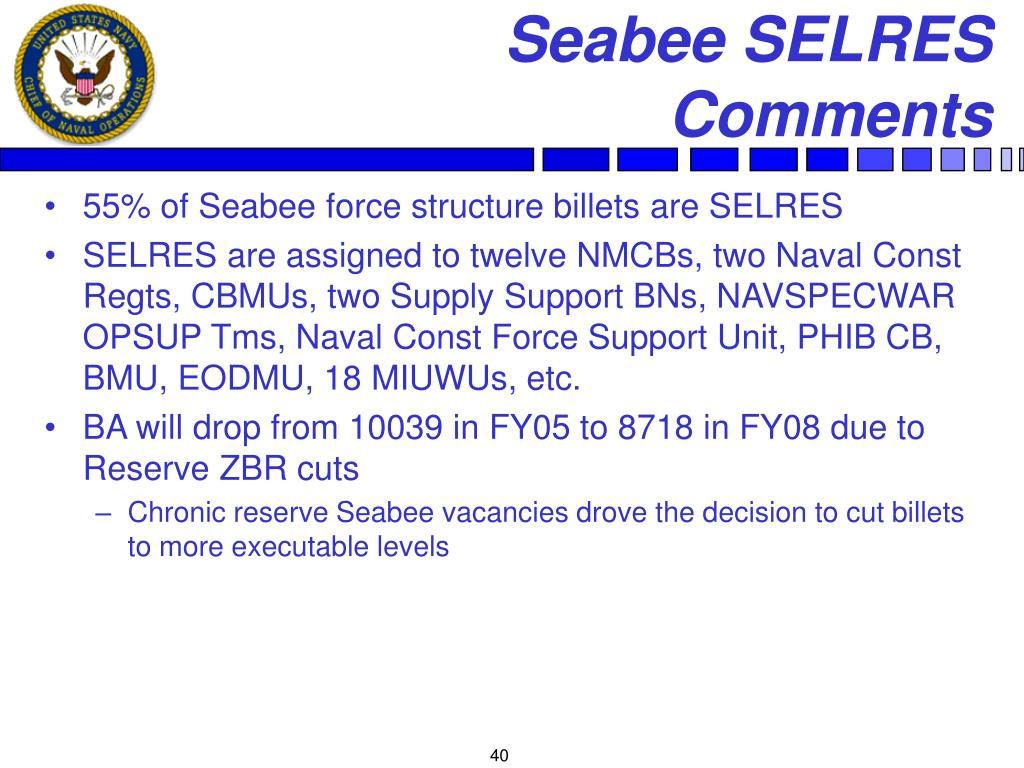 Seabee SELRES Comments