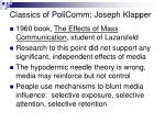 classics of policomm joseph klapper