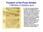 freedom of the press exhibit 1798 alien sedition acts