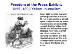 freedom of the press exhibit 1895 1898 yellow journalism
