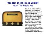 freedom of the press exhibit 1927 the radio act