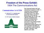 freedom of the press exhibit 1934 the communications act