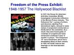 freedom of the press exhibit 1948 1957 the hollywood blacklist