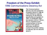 freedom of the press exhibit 1996 communications decency act