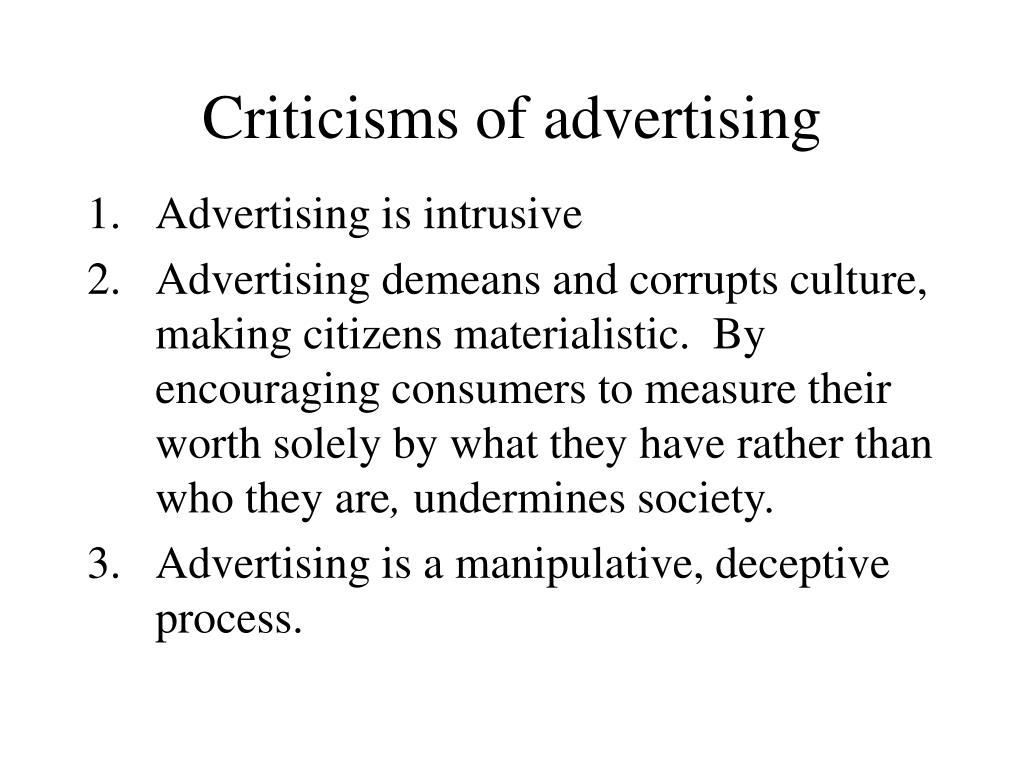 Criticisms of advertising