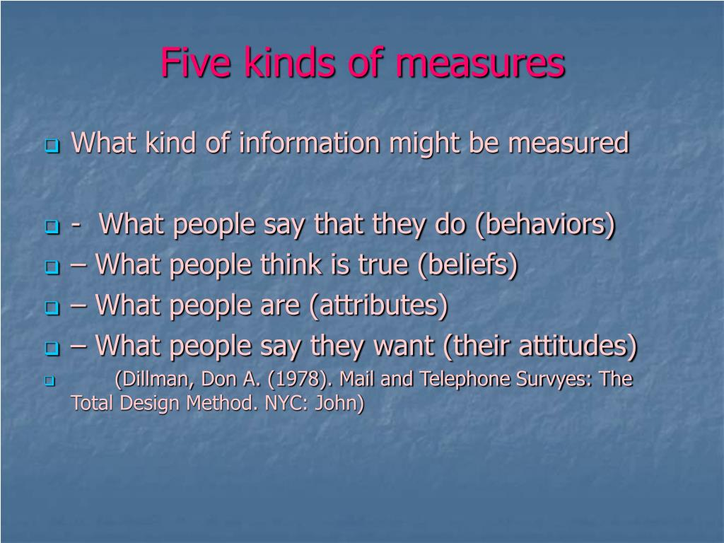 Five kinds of measures