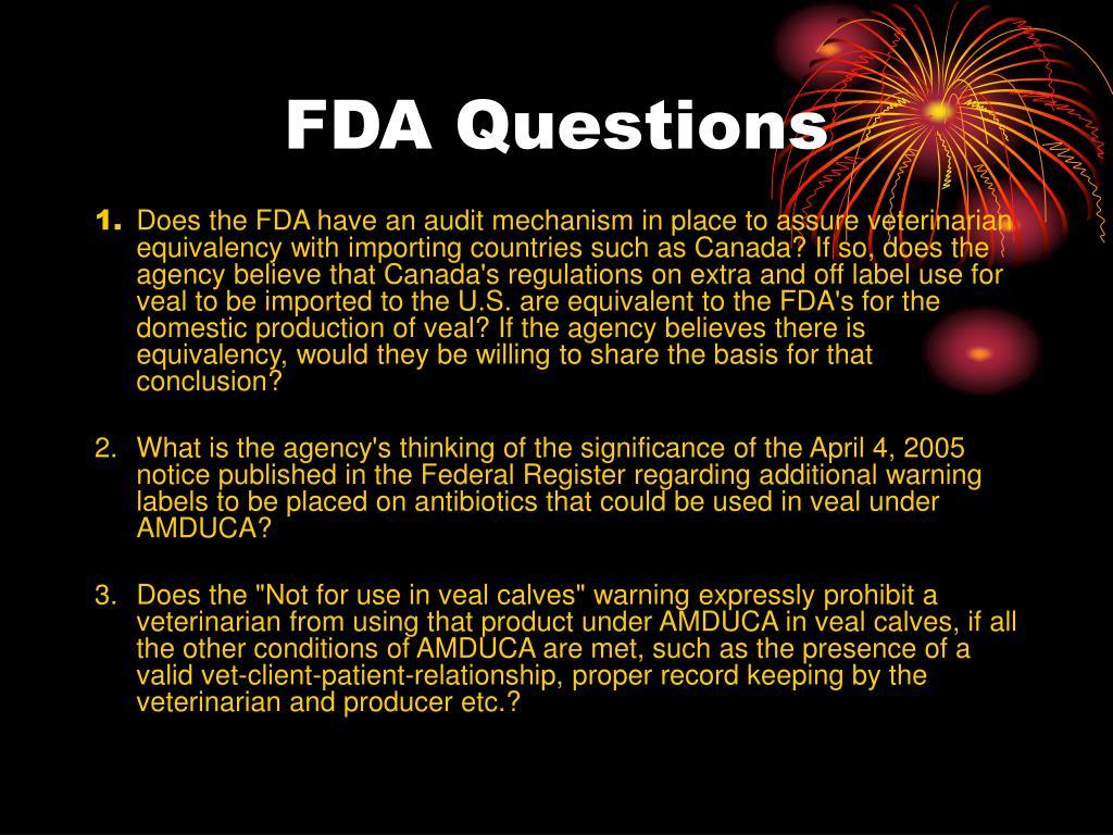 FDA Questions