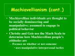 machiavellianism cont