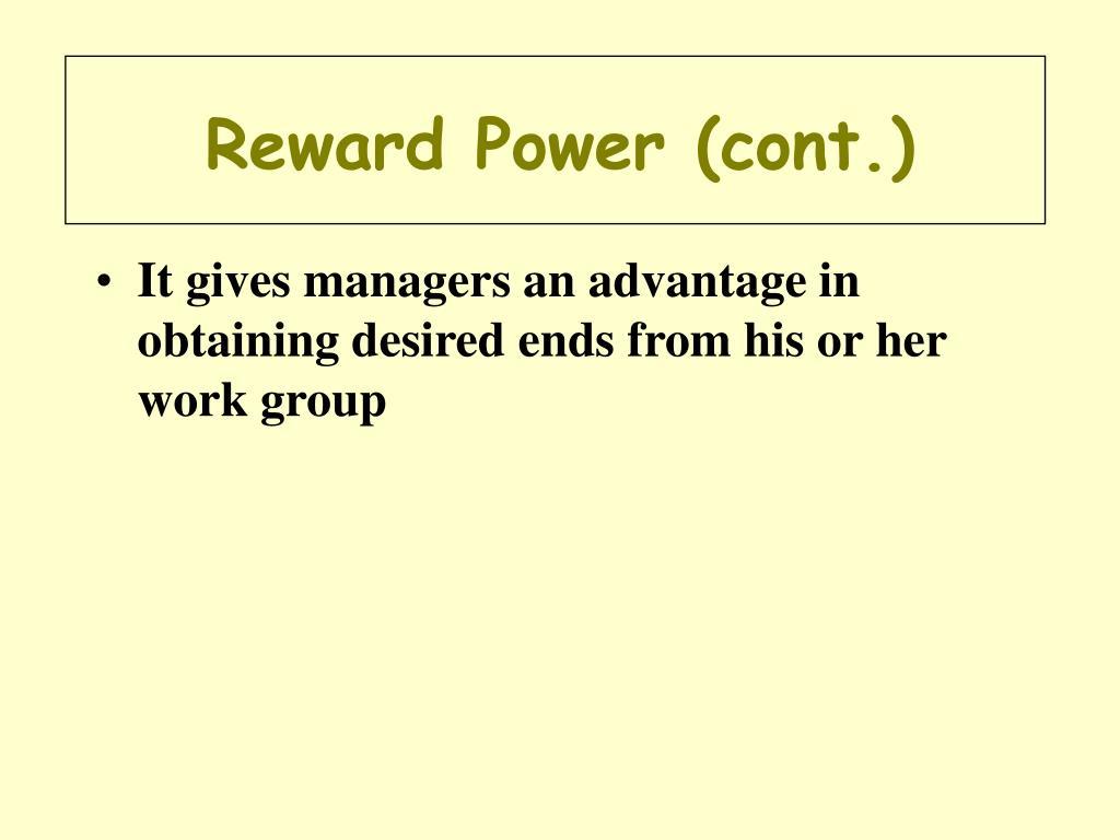Reward Power (cont.)