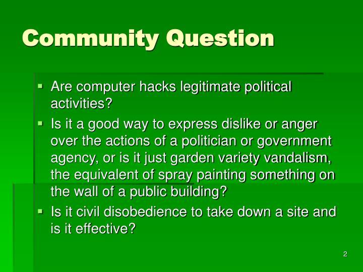 Community question