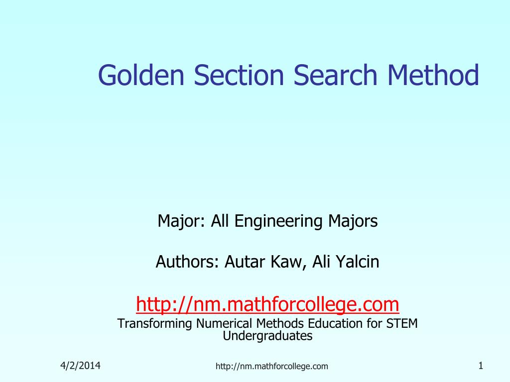 golden section search method l.