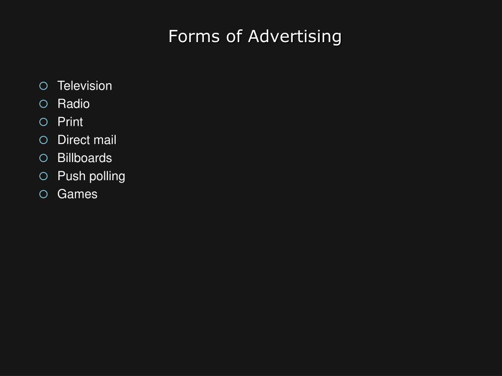 Forms of Advertising