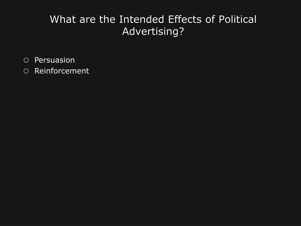 What are the Intended Effects of Political Advertising?