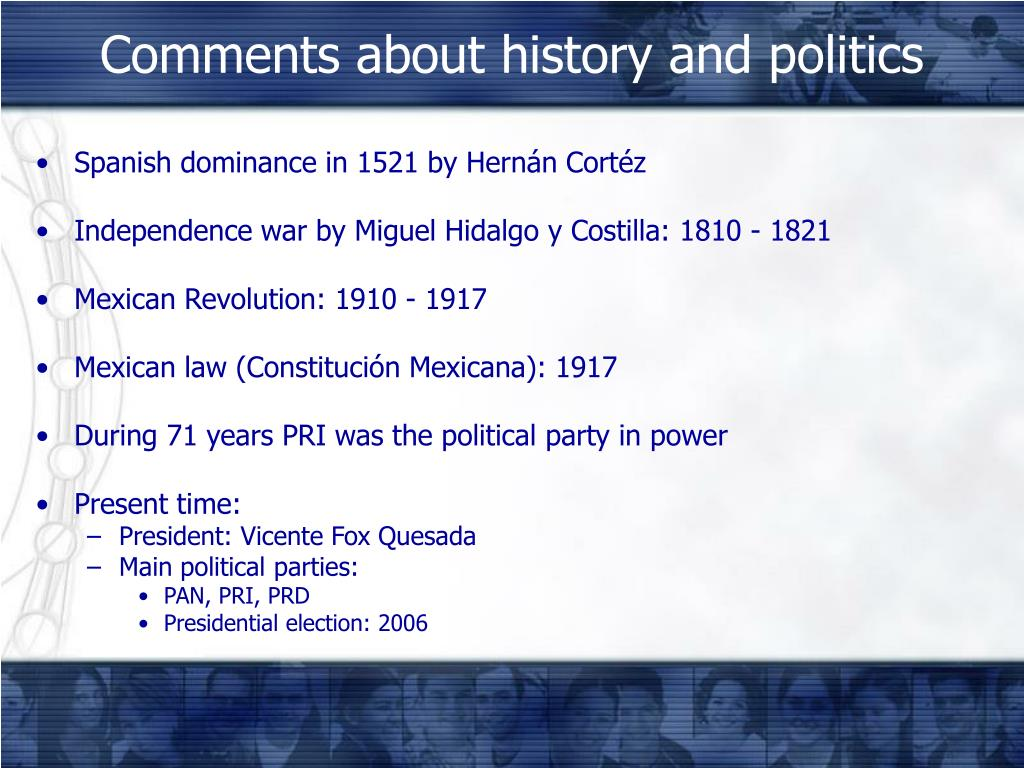 Comments about history and politics