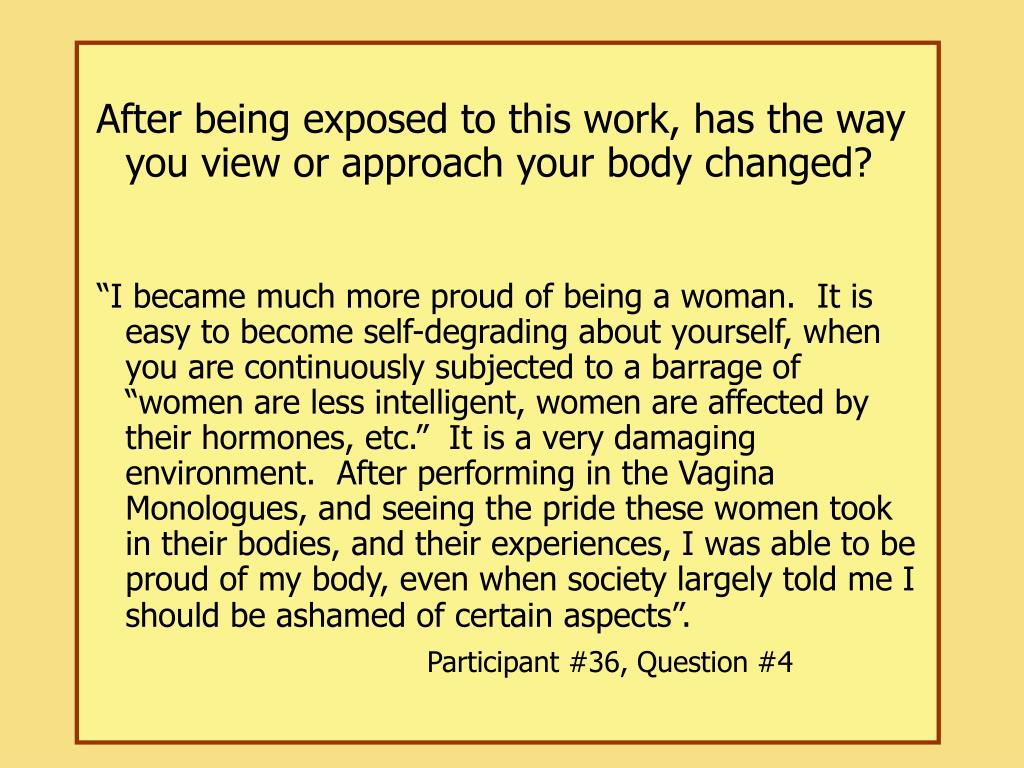 After being exposed to this work, has the way you view or approach your body changed?
