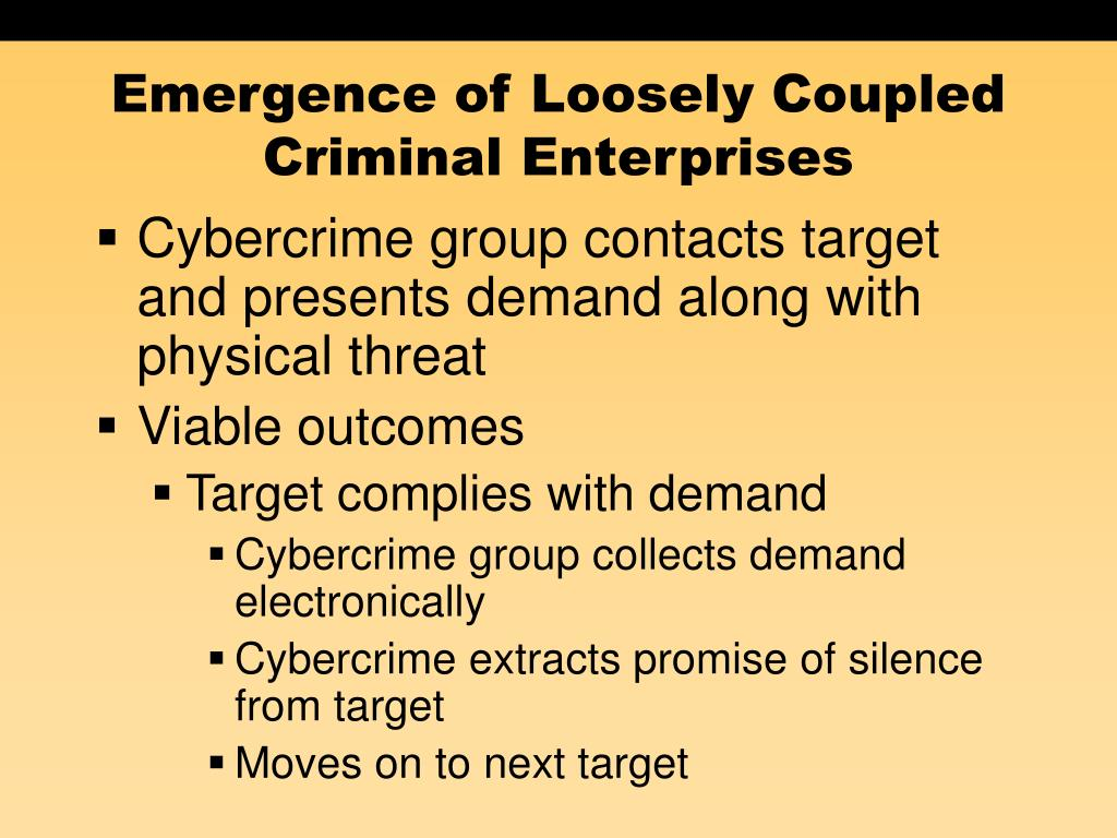 Emergence of Loosely Coupled Criminal Enterprises