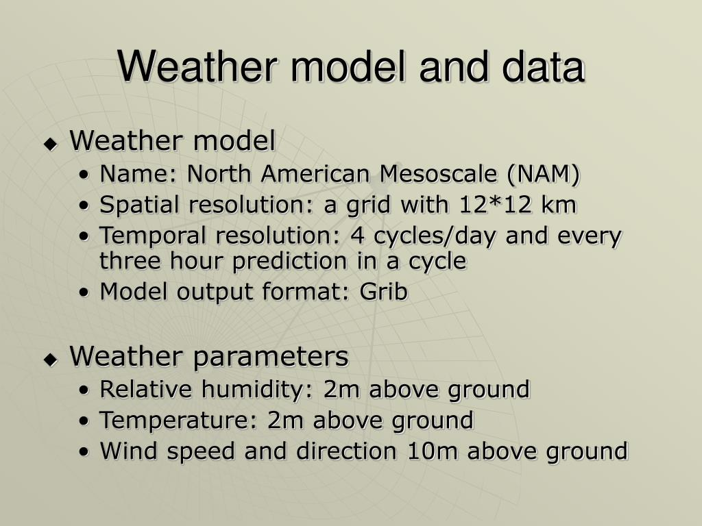 Weather model and data