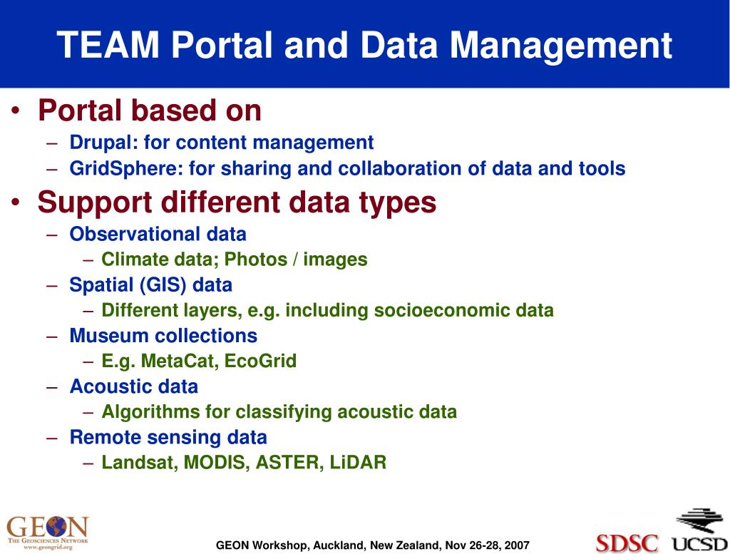 TEAM Portal and Data Management