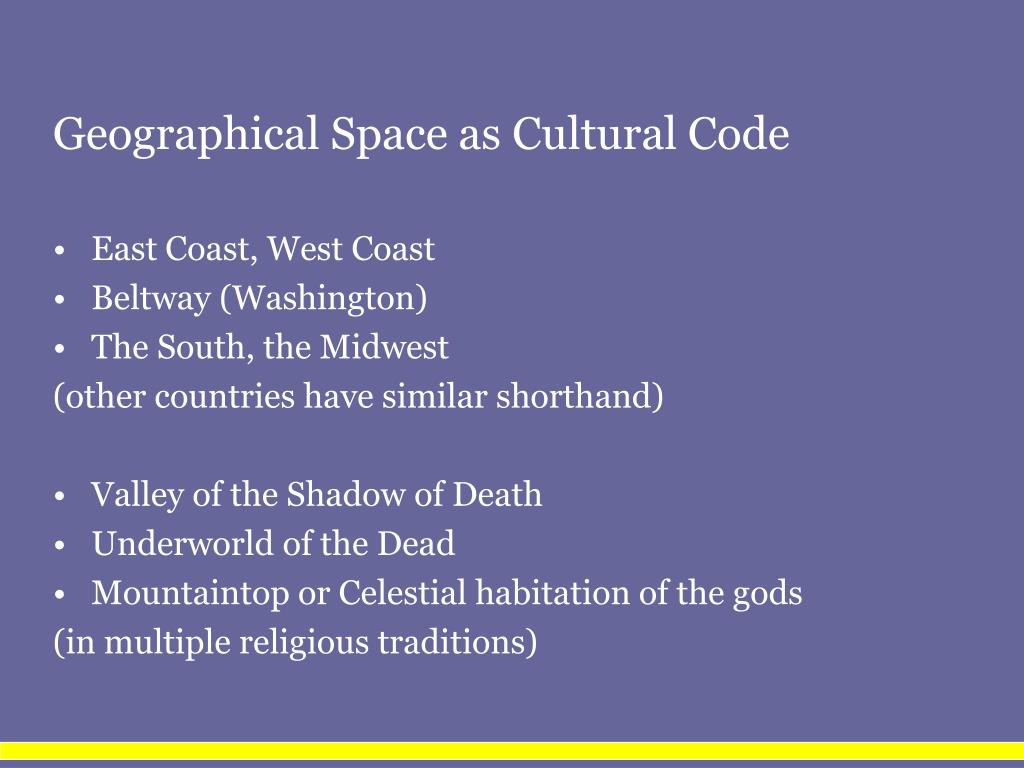 Geographical Space as Cultural Code