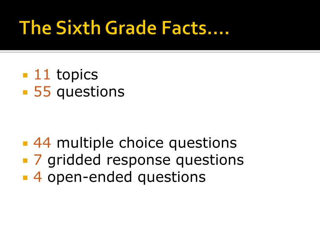 The Sixth Grade Facts….