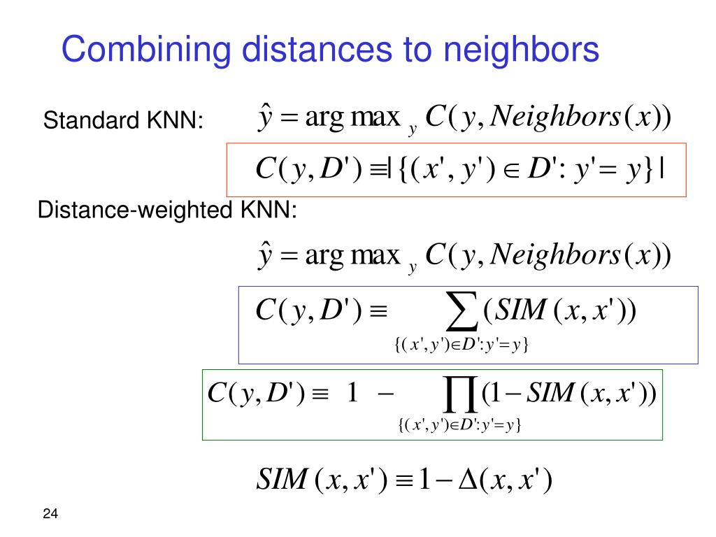 Combining distances to neighbors