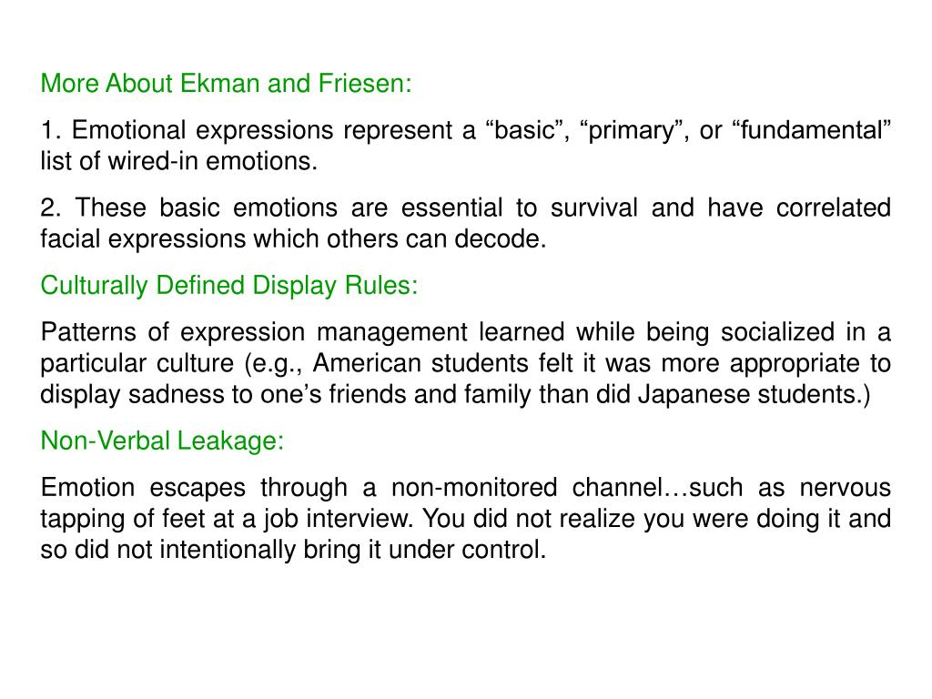 More About Ekman and Friesen: