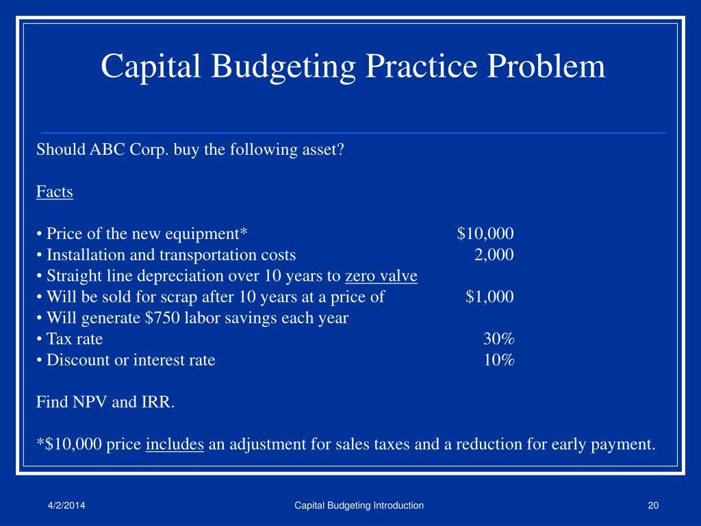 Capital Budgeting Practice Problem
