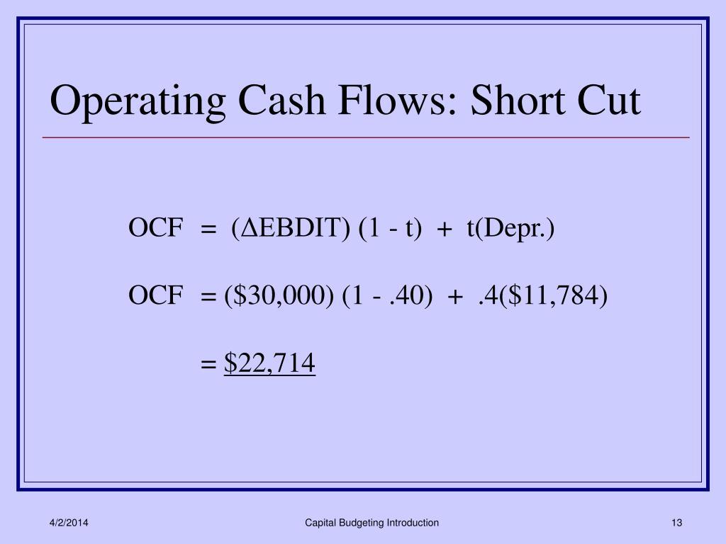 Operating Cash Flows: Short Cut