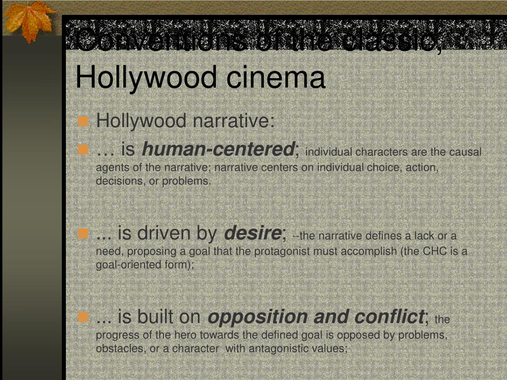 Conventions of the classic, Hollywood cinema
