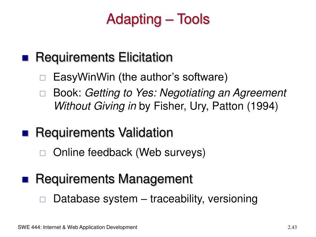 Adapting – Tools