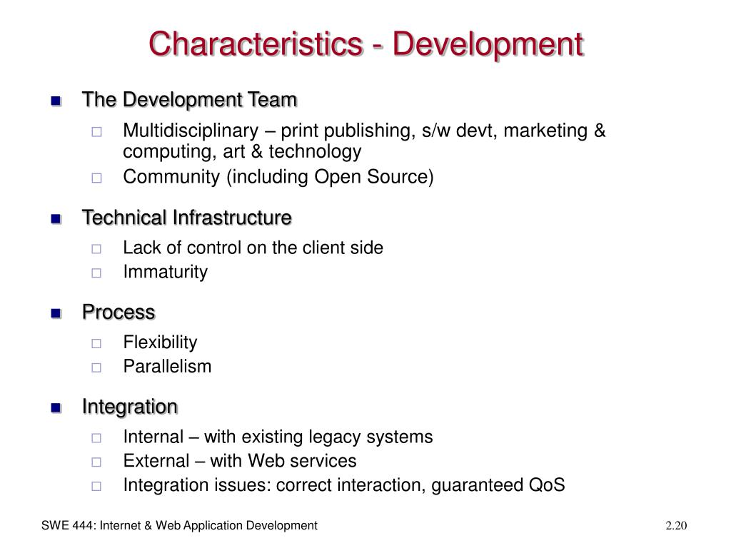 Characteristics - Development