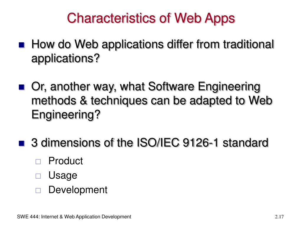 Characteristics of Web Apps