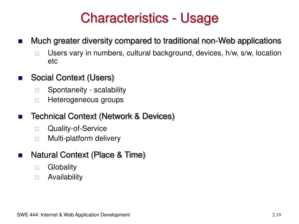 Characteristics - Usage